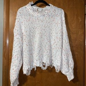 Large Cropped Distressed Sweater